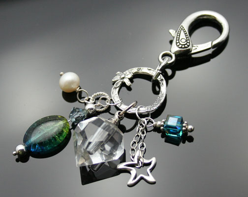silver aromatherapy keychain dangle