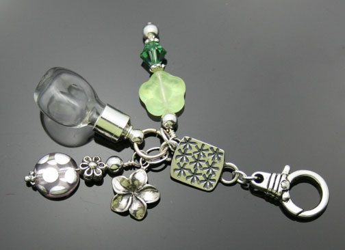 silver aromatherapy fob or decorative keychain