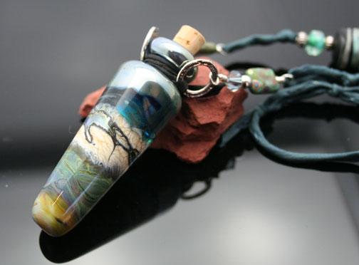 Stunning, one-of-a-kind aroma or poison bottle pendant