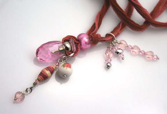 close-up of this beautiful aromatherapy necklace