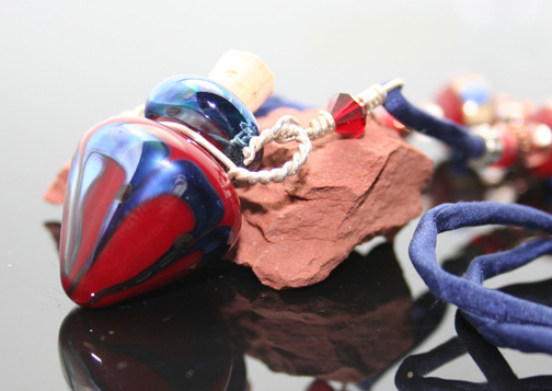 red and deep blue metallic lampwork glass aromatherapy bottle necklace