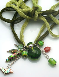 Fairy-inspired green aromatherapy necklace