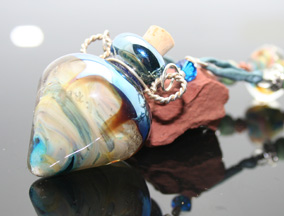 beautiful lampwork beads, glass bottle aroma jewelry