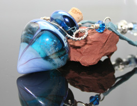 radiant aquatic glass aromatherapy necklace