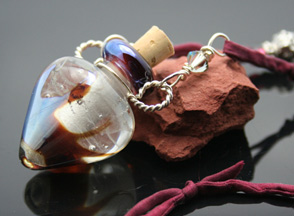 clear lampwork glass aromatherapy jewelry