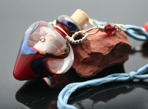 glass aromatherapy bottle necklace with lampwork beads
