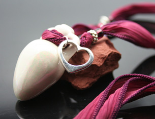 silver heart amphora aromatherapy necklace