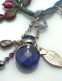 Purple Rain Aromatherapy Necklace on ribbon with beads