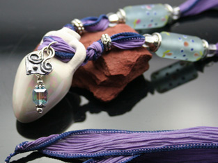 amphora aromatherapy necklace with silk ribbon and crystal charms