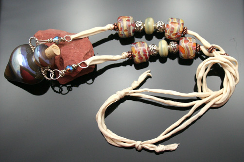fantasy planet aromatherapy necklace on silk cord with beautiful beads