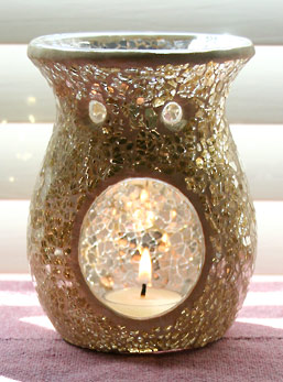 Festive Gold Crackle Mosaic Glass Essential Oil Diffuser