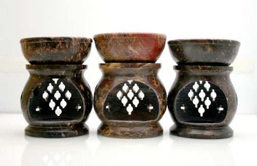 Our lovely, hand-carved, soapstone essential oil burners, aroma lamps
