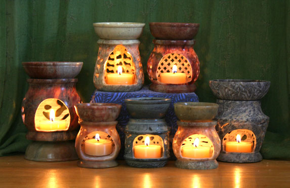 Aroma Lamps: Aromatherapy candle diffusers made out of soapstone. Beautiful carvings and lovely natural stone colorations accentuate this lovely aromatherapy diffuser. Choose many shapes and sizes.