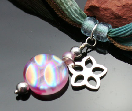 Czech glass beads and sterling silver flower charm