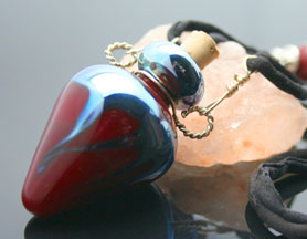 Red and Metallic Aromatherapy Bottle Necklace with very cool Beads