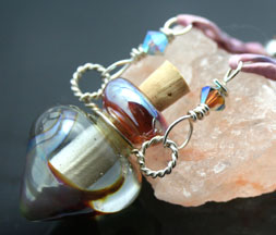 Aromatherapy Jewelry with Silk and Glass Beads