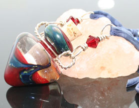 Denim silk, copper and pewter aromatherapy jewelry