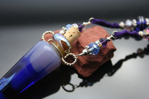 Purple Silk and Copper Aromatherapy Necklace