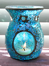 Photo of our Blue Sea Mosaic Glass aromatherapy diffuser - also called an oil warmer